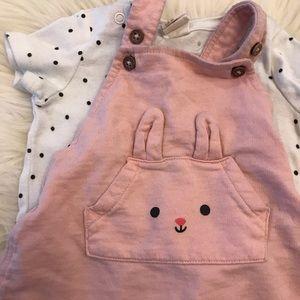 H&M Matching Sets - H&M Pink Bunny Jumper & Polka Dot Top 2-4 MOS